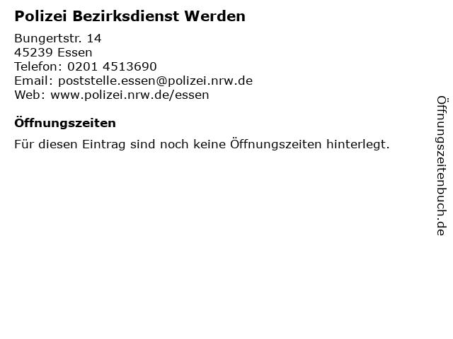 Polizei Bezirksdienst Werden in Essen: Adresse und Öffnungszeiten