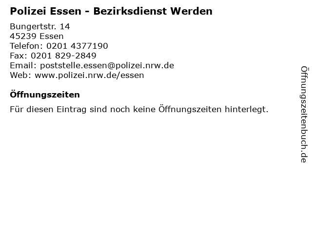Polizei Essen - Bezirksdienst Werden in Essen: Adresse und Öffnungszeiten