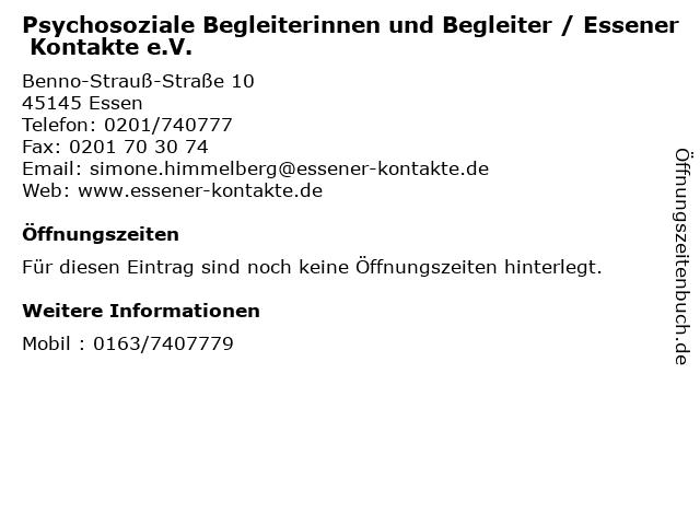 Psychosoziale Begleiterinnen und Begleiter / Essener Kontakte e.V. in Essen: Adresse und Öffnungszeiten