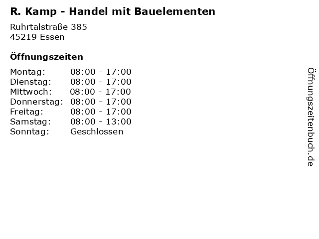 R. Kamp - Handel mit Bauelementen in Essen: Adresse und Öffnungszeiten