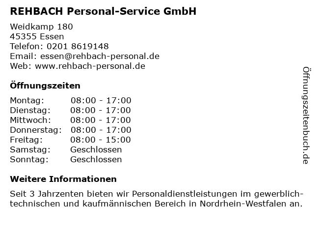 Rehbach Personal-Service GmbH - Niederlassung (Bürozeiten) in Essen: Adresse und Öffnungszeiten