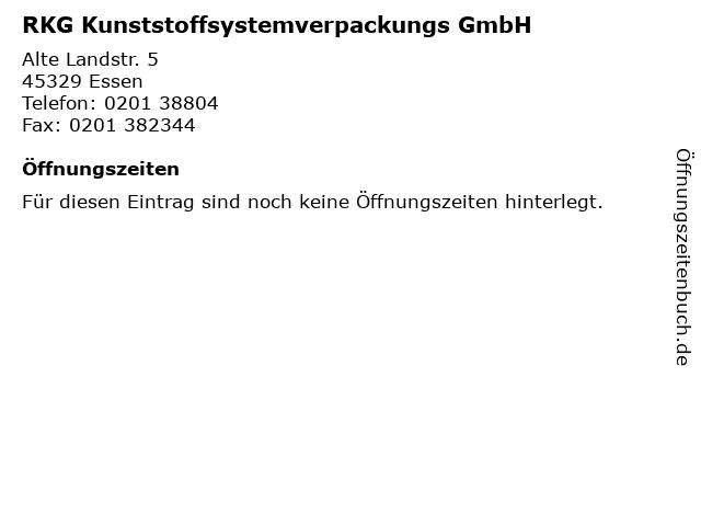 RKG Kunststoffsystemverpackungs GmbH in Essen: Adresse und Öffnungszeiten