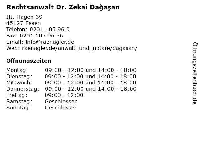 Rechtsanwalt Dr. Zekai Dağaşan in Essen: Adresse und Öffnungszeiten