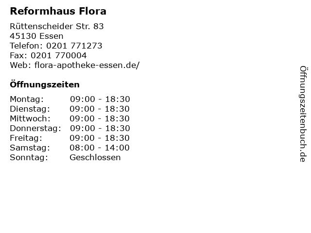 Reformhaus Flora in Essen: Adresse und Öffnungszeiten