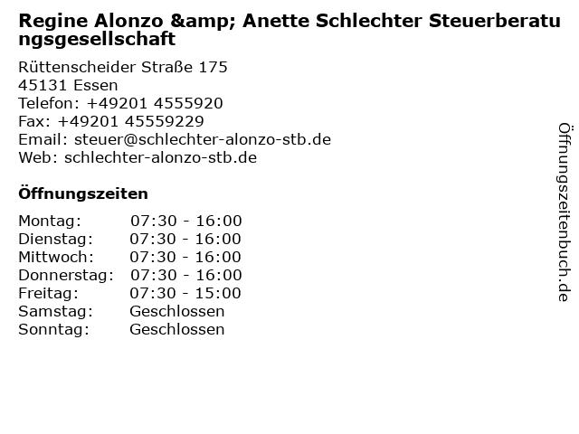 Regine Alonzo & Anette Schlechter Steuerberatungsgesellschaft in Essen: Adresse und Öffnungszeiten