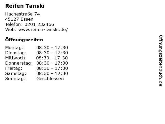 Reifen Tanski in Essen: Adresse und Öffnungszeiten