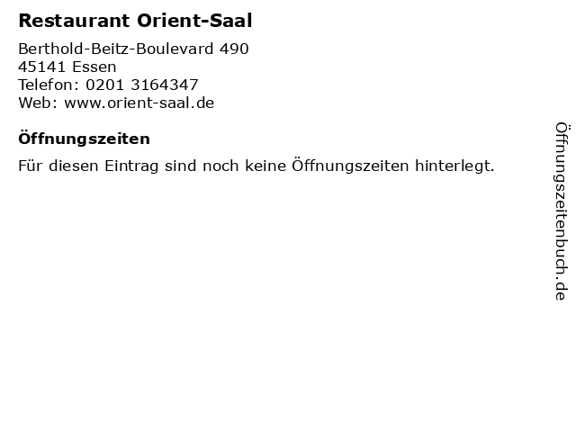 Restaurant Orient-Saal in Essen: Adresse und Öffnungszeiten