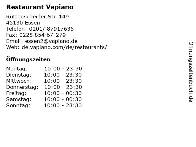 Restaurant Vapiano in Essen: Adresse und Öffnungszeiten