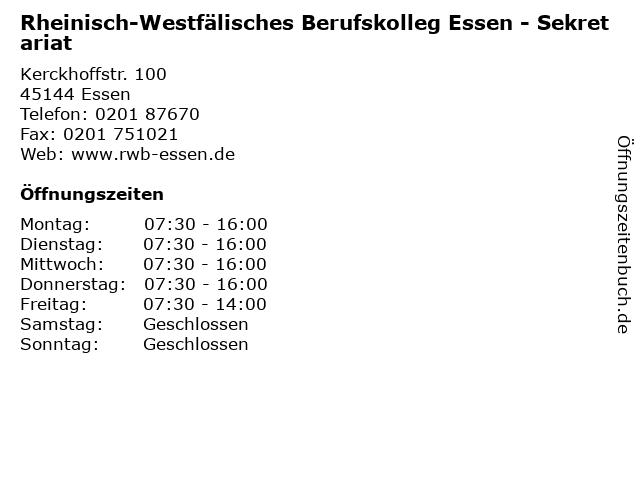 Rheinisch-Westfälisches Berufskolleg Essen - Sekretariat in Essen: Adresse und Öffnungszeiten
