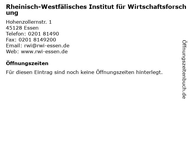 Rheinisch-Westfälisches Institut für Wirtschaftsforschung in Essen: Adresse und Öffnungszeiten