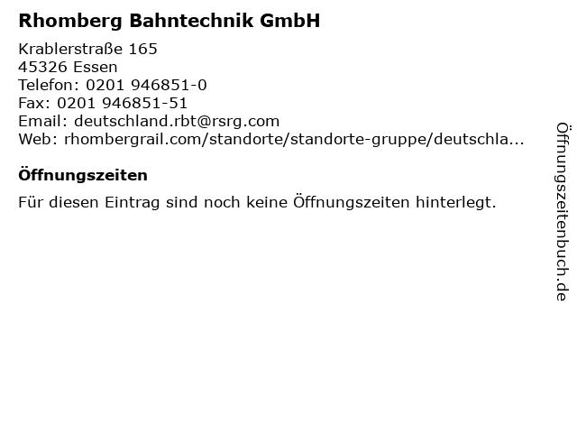 Rhomberg Bahntechnik GmbH in Essen: Adresse und Öffnungszeiten