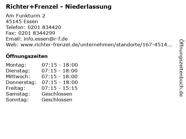 Richter+Frenzel - Niederlassung in Essen: Adresse und Öffnungszeiten