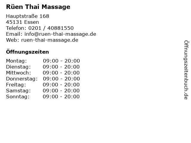 Rüen Thai Massage in Essen: Adresse und Öffnungszeiten