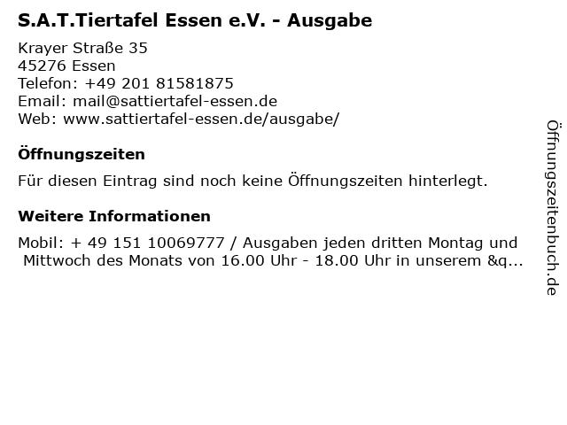 S.A.T.Tiertafel Essen e.V. - Ausgabe in Essen: Adresse und Öffnungszeiten