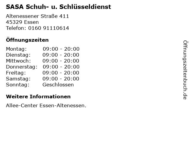 SASA Schuh- u. Schlüsseldienst in Essen: Adresse und Öffnungszeiten