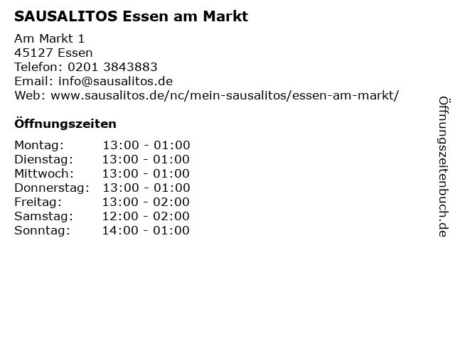 SAUSALITOS Essen am Markt in Essen: Adresse und Öffnungszeiten