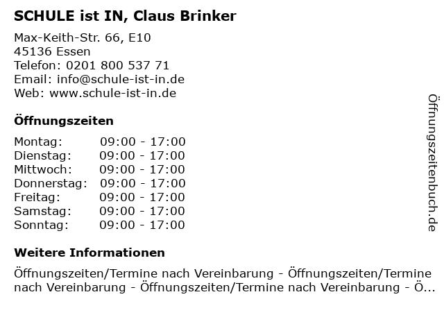SCHULE ist IN, Claus Brinker in Essen: Adresse und Öffnungszeiten
