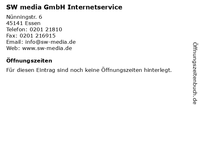 SW media GmbH Internetservice in Essen: Adresse und Öffnungszeiten