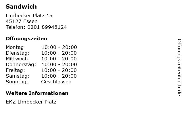 Sandwich in Essen: Adresse und Öffnungszeiten