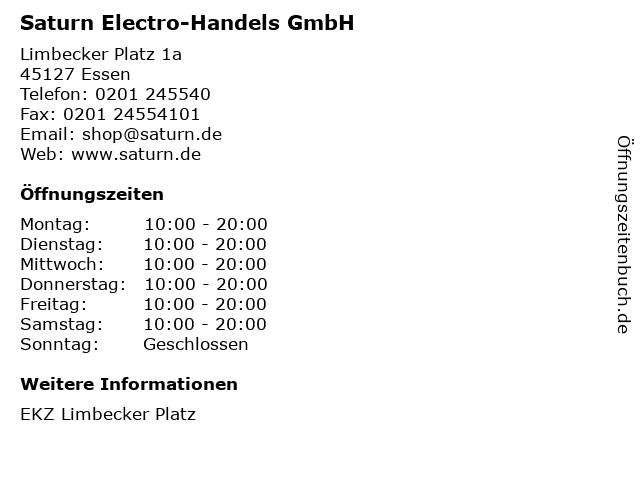 Saturn Electro-Handels GmbH in Essen: Adresse und Öffnungszeiten