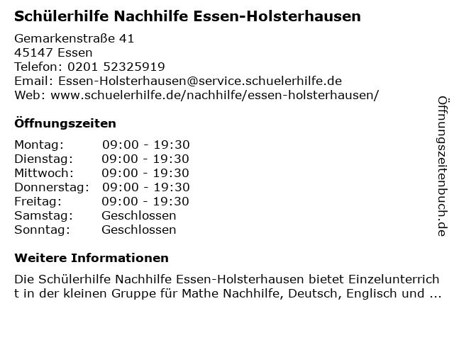 Schülerhilfe Nachhilfe Essen-Holsterhausen in Essen: Adresse und Öffnungszeiten