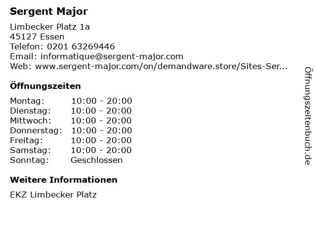 Sergent Major in Essen: Adresse und Öffnungszeiten