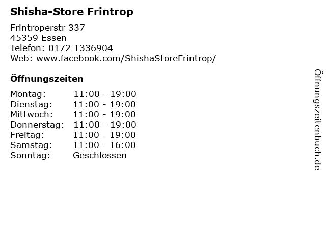 Shisha-Store Frintrop in Essen: Adresse und Öffnungszeiten