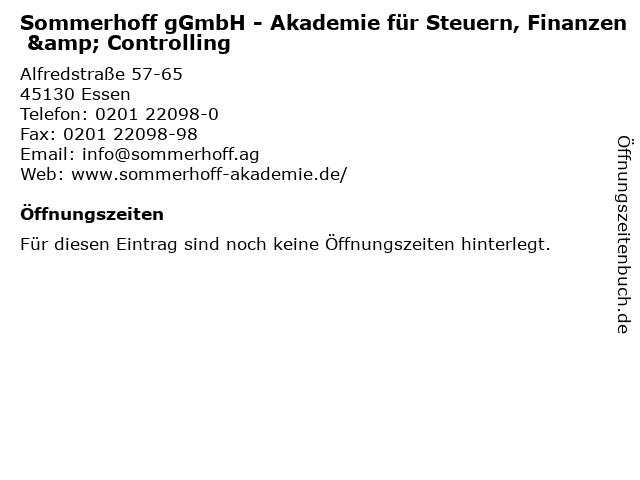 Sommerhoff gGmbH - Akademie für Steuern, Finanzen & Controlling in Essen: Adresse und Öffnungszeiten