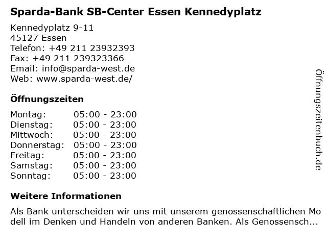 Sparda-Bank SB-Center Essen Kennedyplatz in Essen: Adresse und Öffnungszeiten