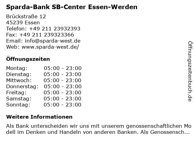 Sparda-Bank SB-Center Essen-Werden in Essen: Adresse und Öffnungszeiten