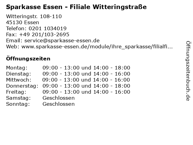 Sparkasse Essen - Filiale Witteringstraße in Essen: Adresse und Öffnungszeiten
