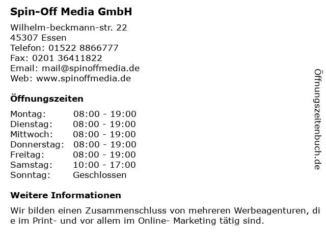 Spin-Off Media GmbH in Essen: Adresse und Öffnungszeiten