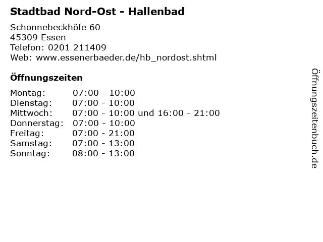 Stadtbad Nord-Ost - Hallenbad in Essen: Adresse und Öffnungszeiten