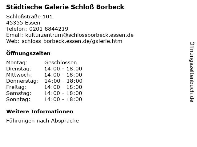 Städtische Galerie Schloß Borbeck in Essen: Adresse und Öffnungszeiten