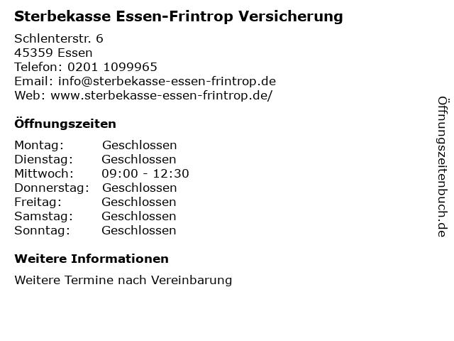 Sterbekasse Essen-Frintrop Versicherung in Essen: Adresse und Öffnungszeiten
