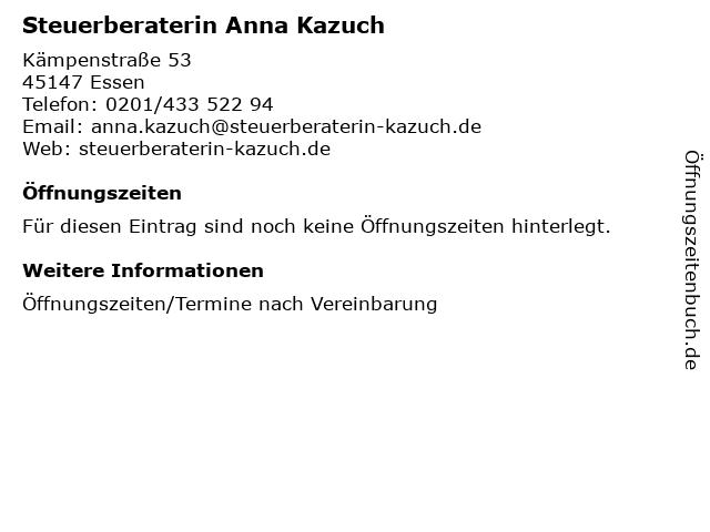 Steuerberaterin Anna Kazuch in Essen: Adresse und Öffnungszeiten