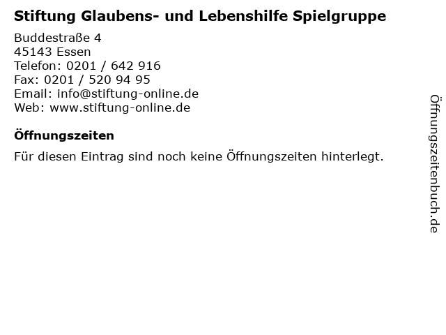 Stiftung Glaubens- und Lebenshilfe Spielgruppe in Essen: Adresse und Öffnungszeiten