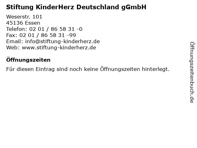 Stiftung KinderHerz Deutschland gGmbH in Essen: Adresse und Öffnungszeiten