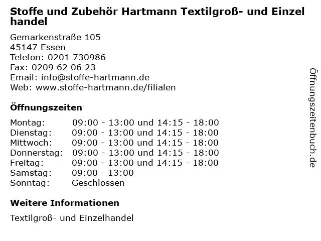 Stoffe und Zubehör Hartmann Textilgroß- und Einzelhandel in Essen: Adresse und Öffnungszeiten