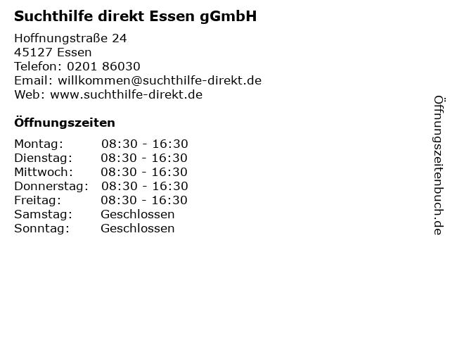 Suchthilfe direkt Essen gGmbH in Essen: Adresse und Öffnungszeiten