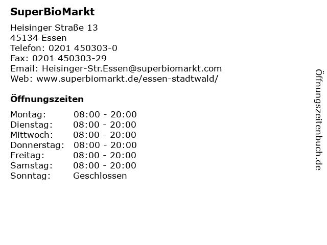 SuperBioMarkt in Essen: Adresse und Öffnungszeiten