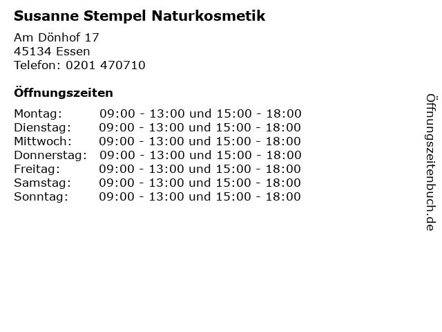 Susanne Stempel Naturkosmetik in Essen: Adresse und Öffnungszeiten