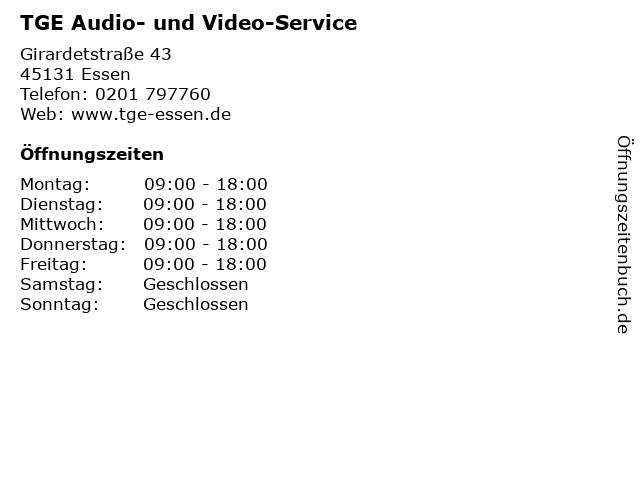 TGE Audio- und Video-Service in Essen: Adresse und Öffnungszeiten