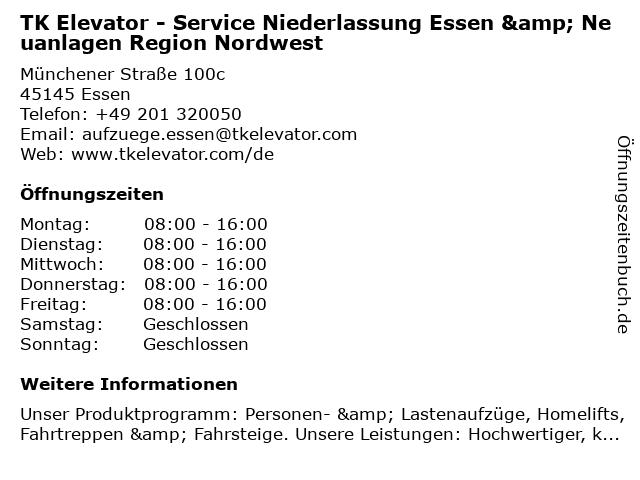 TK Elevator - Service Niederlassung Essen & Neuanlagen Region Nordwest in Essen: Adresse und Öffnungszeiten