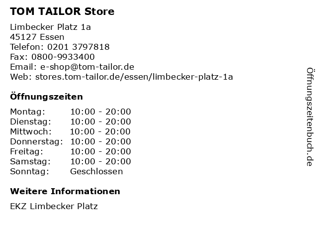 TOM TAILOR Store in Essen: Adresse und Öffnungszeiten