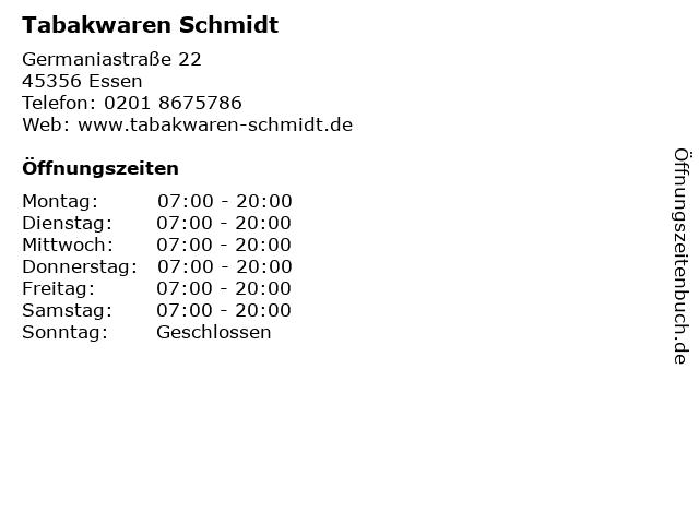Tabakwaren Schmidt in Essen: Adresse und Öffnungszeiten