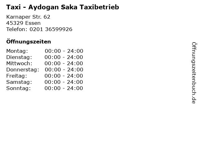 Taxi - Aydogan Saka Taxibetrieb in Essen: Adresse und Öffnungszeiten
