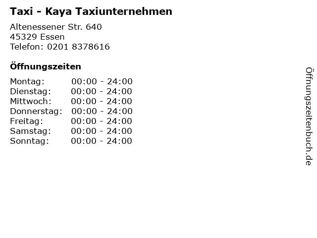 Taxi - Kaya Taxiunternehmen in Essen: Adresse und Öffnungszeiten