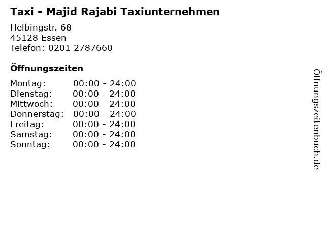 Taxi - Majid Rajabi Taxiunternehmen in Essen: Adresse und Öffnungszeiten