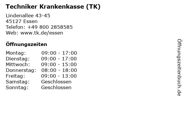Techniker Krankenkasse (TK) in Essen: Adresse und Öffnungszeiten